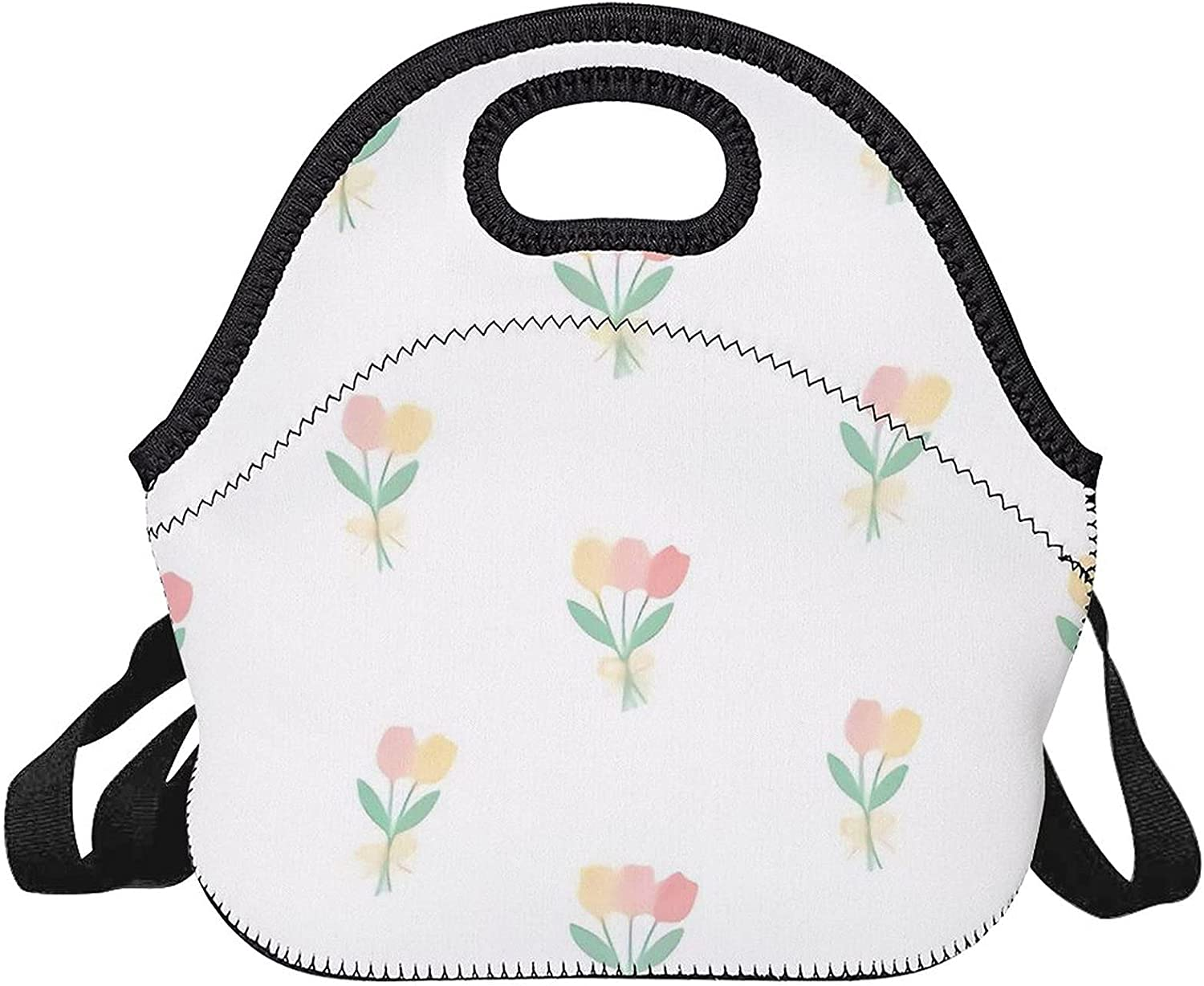 Upgraded lunch bag,Cute Tulip Flowers Back Seamless 67% OFF of fixed price Pattern Minneapolis Mall