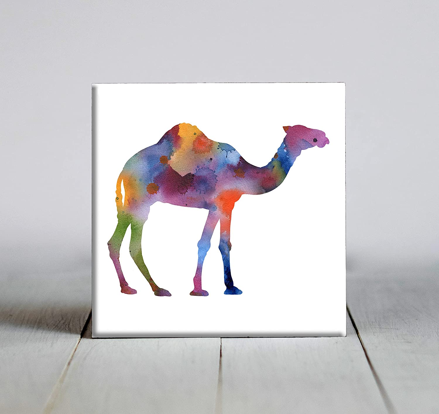 Abstract Camel Watercolor Art Decorative Tile (4.25 X 4.25)