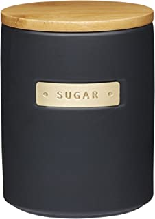 masterclass KitchenCraft Airtight Stoneware and Brass-Effect Sugar Canister, 1 Litre