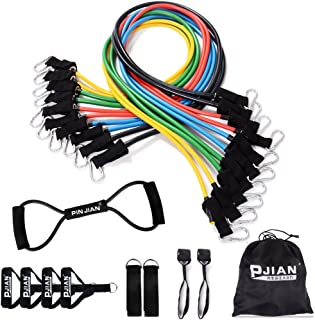 PIN JIAN Resistance Bands Set with Exercise Tube Bands, Door Anchor, Ankle Straps, Foam Handles, Exercise Guide & Carry Case