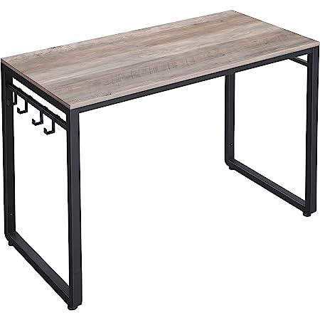 "VASAGLE ALINRU 39-Inch Computer Desk with 8 Hooks, For Study, Home Office, Easy Assembly, Steel Frame, 39.4"", Greige"
