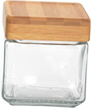 Anchor Hocking 1-Quart Stackable Jars with Bamboo Lids, Set of 4