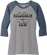 Comical Shirt Ladies Can I Get A Hallelujah Amen 3/4 Raglan