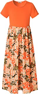 Mirawise Girls Maxi Dress with Pockets 3/4 Sleeve Long Swing Striped Party Dress