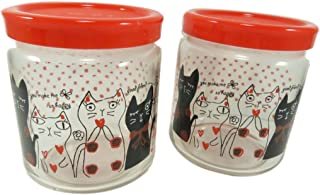 Cute Cat Glass Jar Bottle With Lid Cover Storage Container 14 Ounce Clear Red Black Polka Dots (Set of 2)