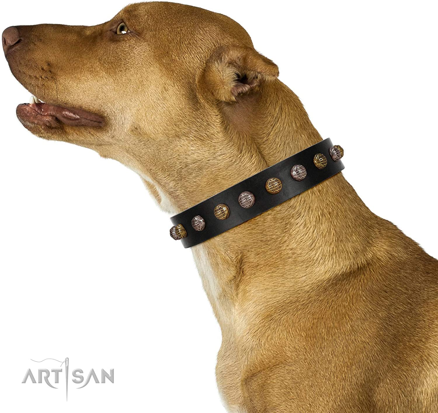 FDT Artisan 16 inch Inky Prettification Black Leather Dog Collar with Studs in Gift Packaging  1 1 2 inch (40 mm)