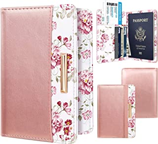 Passport Holder Cover Travel RFID Blocking Passport Cover Rose Gold Cute Flowers Passport Wallet with Elastic Band for Women