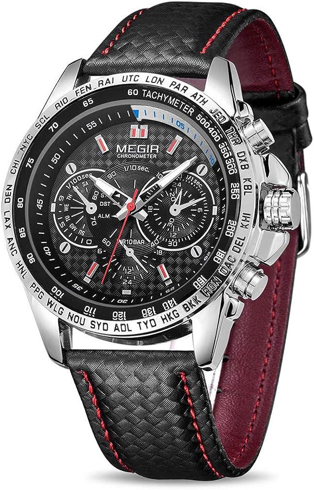 MEGIR Men Wrist Watch Leather Waterproof Super Special SALE held Luminous Quartz Analog Cheap bargain