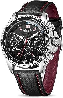 MEGIR Men Wrist Watch Leather Waterproof Luminous Analog Quartz Sport Casual Watch with Calendar for Business Work School Outdoor