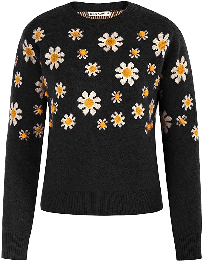 Vintage Sweaters, Retro Sweaters & Cardigan GRACE KARIN Women Embroidered Sweaters Pullover Crew Neck Long Sleeve Floral Top  AT vintagedancer.com