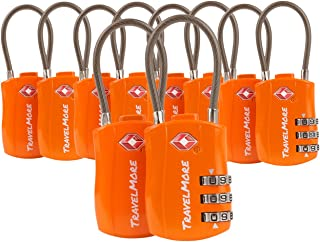 TravelMore 10 Pack TSA Approved Travel Combination Cable Luggage Locks for Suitcases - Orange