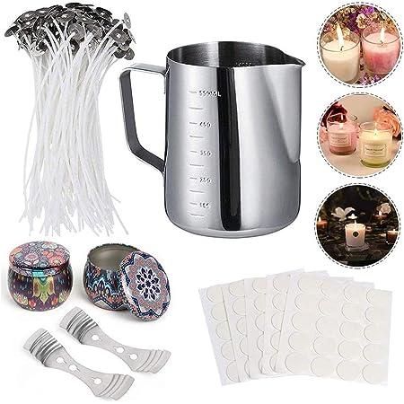 HOTOOLME Kit para hacer velas DIY con 50 mechas para velas, 100 mechas adhesivas, 2 soportes para mechas, 2 latas de metal y 1 recipiente para vela