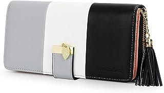 Portafoglio Donna Pelle sintetica Lungo con pendente Portamonete chiusura con cerniera (Nero)