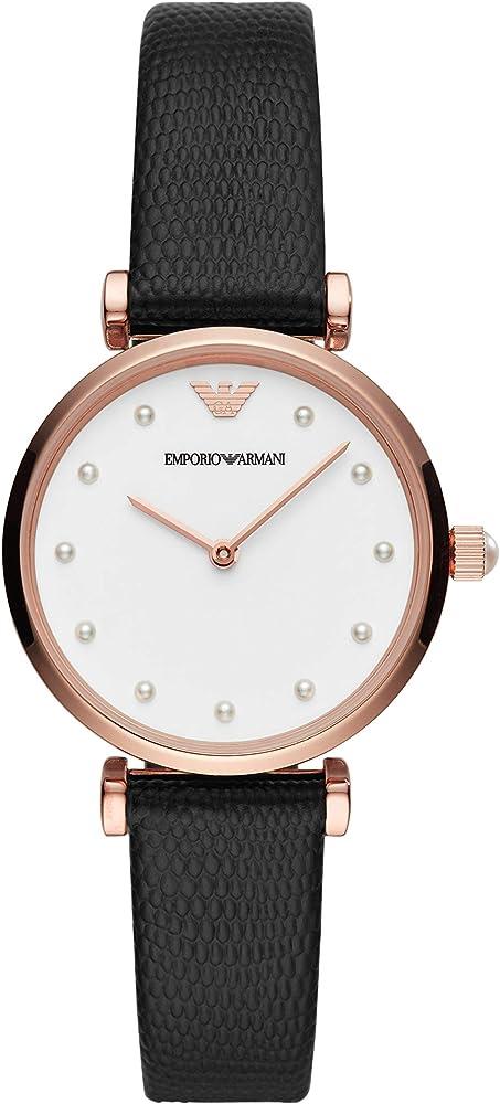 Emporio Armani, orologio da donna, in acciaio inossidabile e cinturino in vera pelle AR11270
