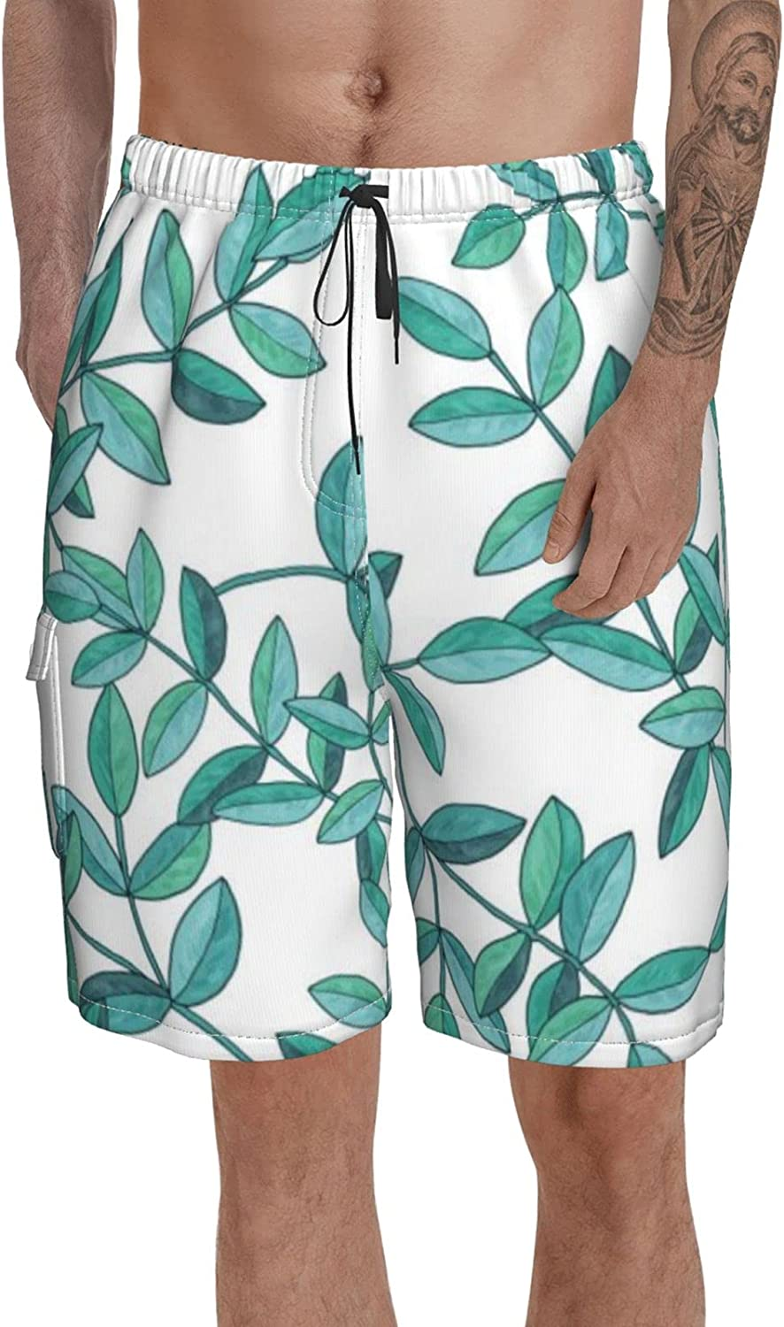 Male Swim Trunks Stretch Bathing Suit Cute Floral Mid Length Volley Shorts for Summer