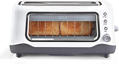 Dash Clear View Extra Wide Slot Toaster with Stainless Steel Accents + See Through Window-Defrost, Reheat + Auto Shut Off Feature for Bagels, Specialty Breads & other Baked Goods, White