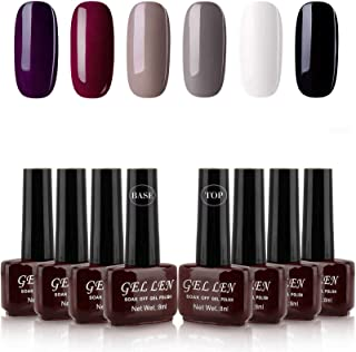 Gellen Gel Nail Polish Kit Classic Elegance 6 Colors With Base Coat and Top Coat - Popular Home Nail Salon Trendy Glamour Colors Set