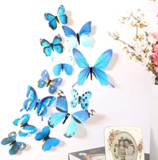 JIDSFIE 12Pcs 3D Colorful Butterflies Wall Stickers DIY Art Party Home Decor Crafts for Nursery Classroom Offices Kids Girl Boy Baby Bedroom Bathroom Living Room Decals (Blue)