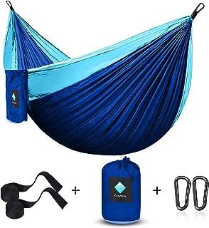 CozyHoliv Camping Hammock, Portable Parachute Hammocks for Outdoor Hiking Travel Backpacking - 210D Nylon Hammock Swing for Backyard & Garden