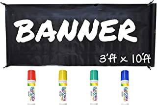 Banner Kit by Glass Chalk - 1 Black Blank Banner, 4 Clips, Rope, Primary Color Markers