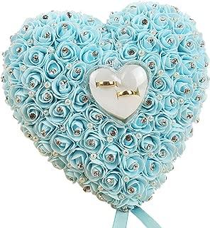 Sanwood - Romantische Herzform weiß rose Kissen Hochzeit Hochzeit Ring Box Ring Kissen mit Elegantes Blumenmuster Kissen Satin Ring Hochzeit Verlobungsring Container Fall, hellblau, 22cm x 20cm