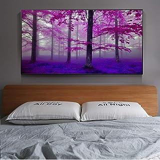 tzxdbh Pinturas del Paisaje del Bosque Rosado s en Las Impresiones del Arte de la Pared Imágenes de la Pared del Paisaje púrpura para la decoración de la habitación de la Cama