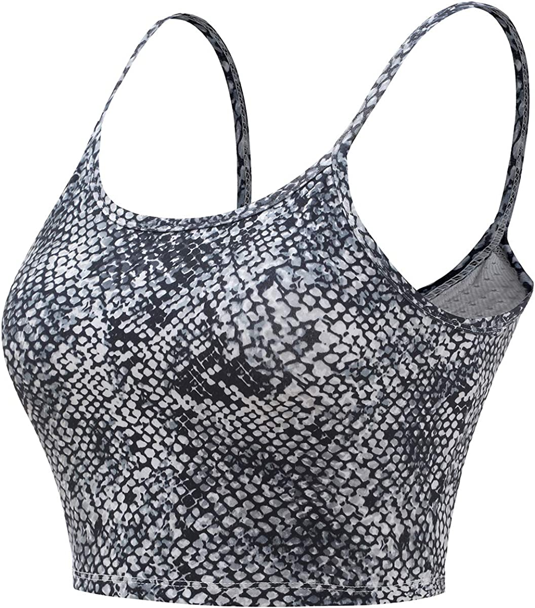 Aonour Crop Tops for Women Longline Sports Bra Padded Camisole for Women with Built in Bra Yoga Workout Running Tank Tops
