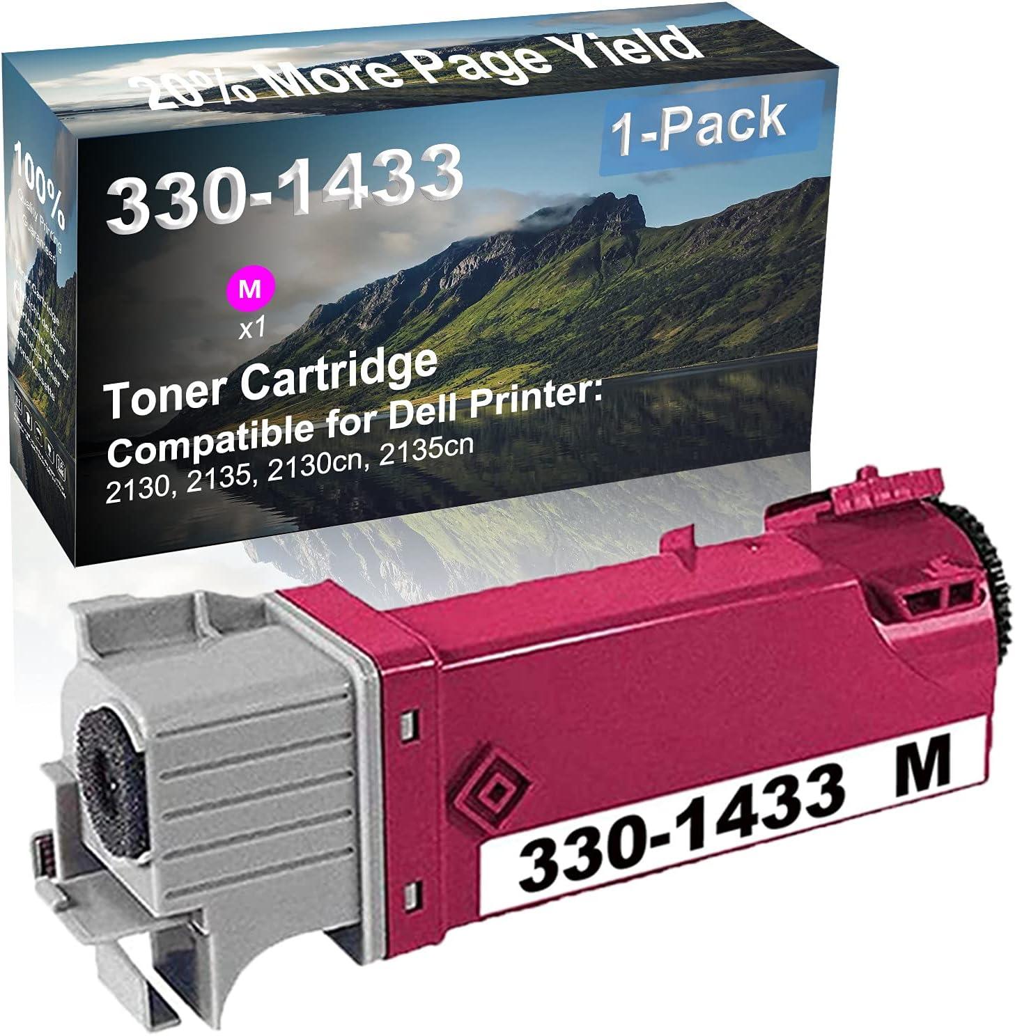 1-Pack (Magenta) Compatible 2130, 2135, 2130cn, 2135cn Printer Toner Cartridge High Capacity Replacement for Dell 330-1433 Toner Cartridge