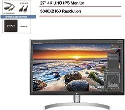 "$770 » 2020 LG 27"" IPS HDR10 UHD 4K (3840X2160) USB Type-C Monitor, 3-Side Borderless Anti-Glare 3H Screen, Peak 450nits Brightness, HDMI, DisplayPort, SPMOR Accessories+ 256GB SD Card+ 1 Year Warranty"