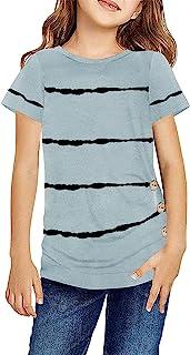 Ebifin Girls Casual Short/Long Sleeve T Shirts Button Tie Dye Tunic Tops Striped Loose Tee Blouse Size 4-13