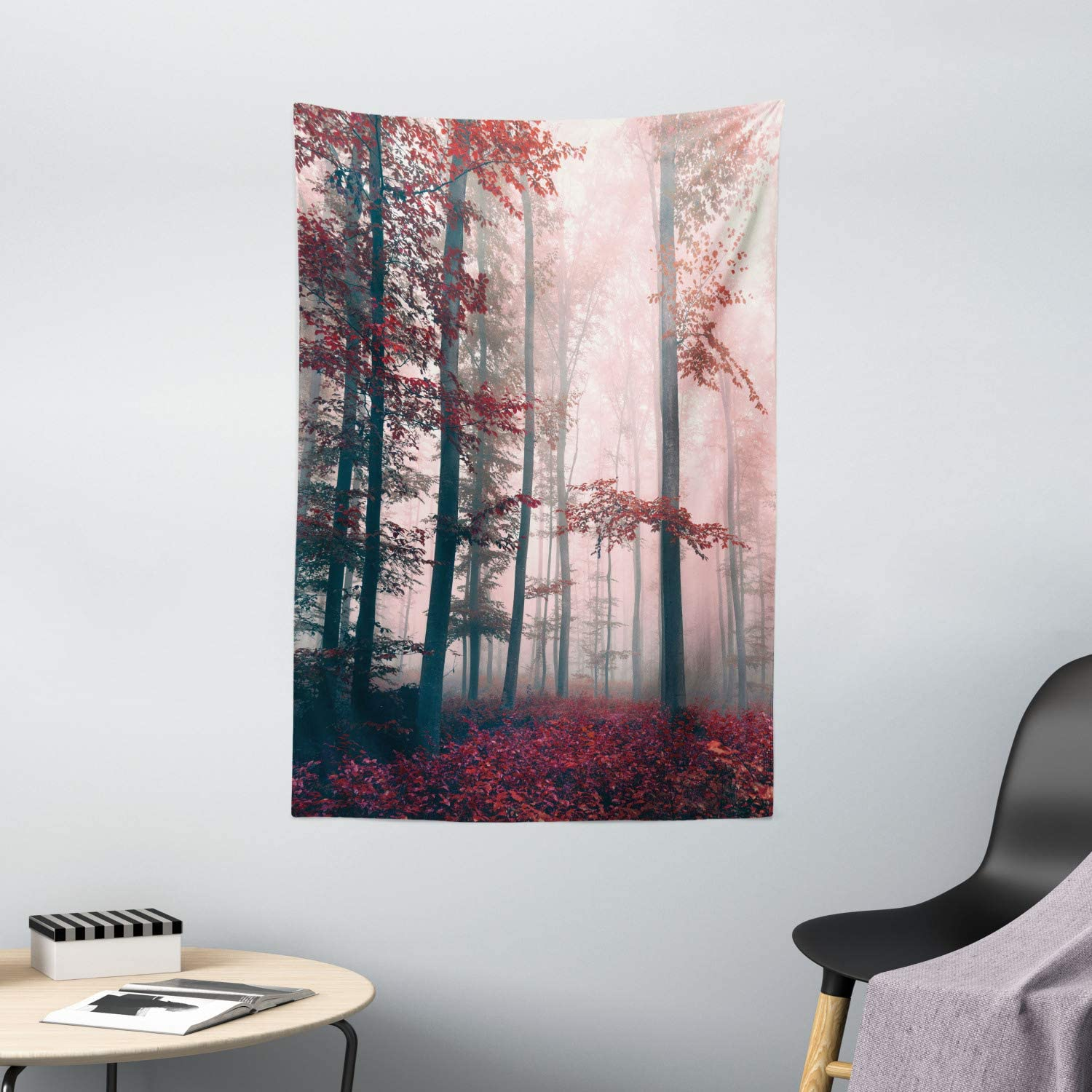 Amazon Com Ambesonne Forest Tapestry Autumn Season Mystic Foggy Fall Nature And Enchanted Woods Wild Trees Print Wall Hanging For Bedroom Living Room Dorm Decor 40 X 60 Red Home Kitchen