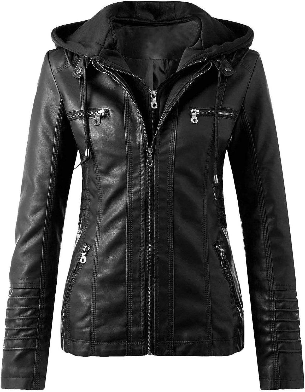 Leather Jacket Women Removable Hooded Zip Up Motorcycle Jacket Faux Leather Moto Biker Coat Outwear