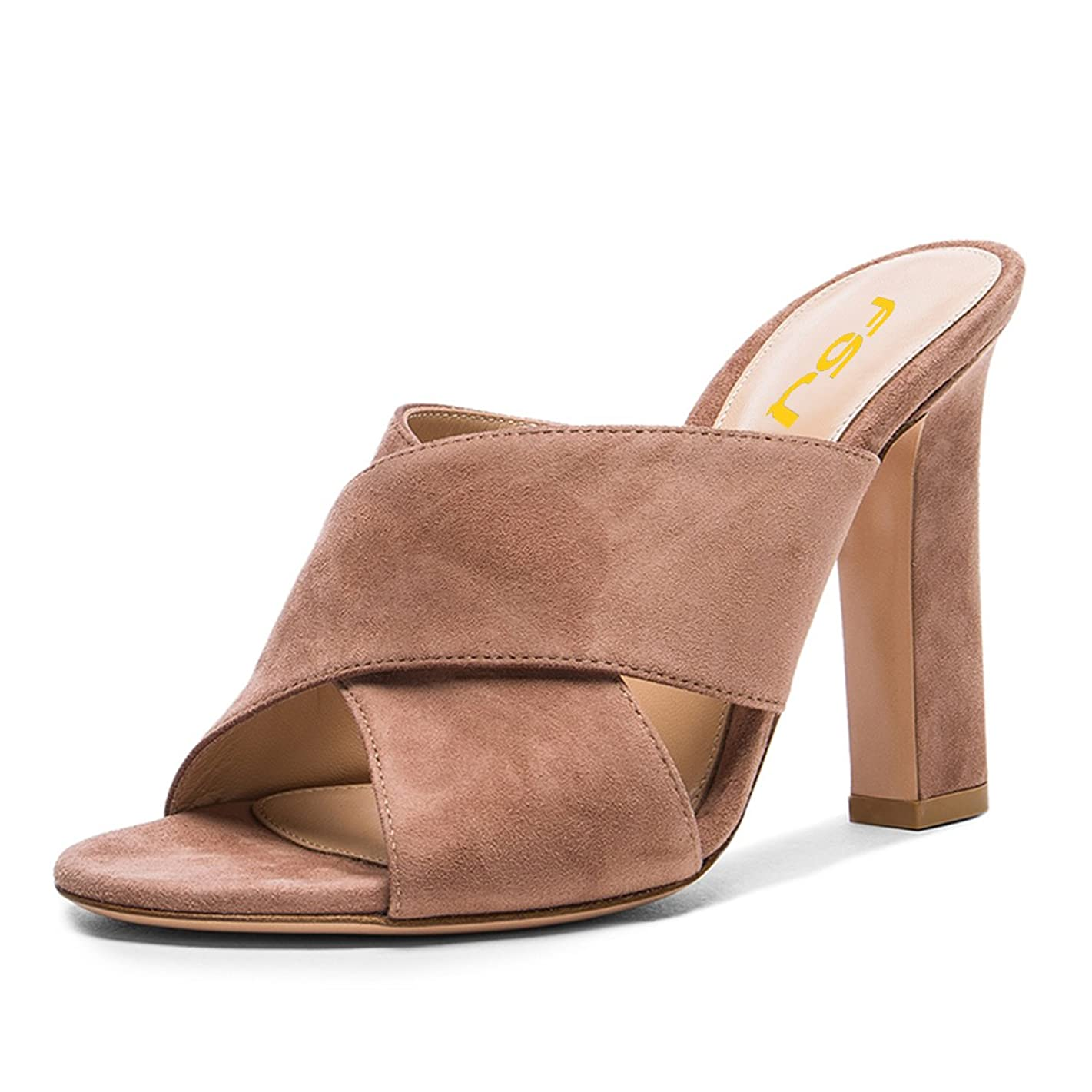 FSJ Women Chic Open Toe Platform Chunky High Heel Mules Sandals Crossover Strap Slide Shoes Size 4-15 US