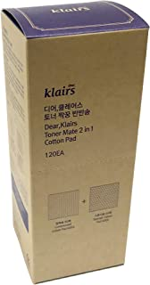 Klairs Cotton Rounds, 120EA Makeup Remover and Facial Cleansing Round Cotton Pads