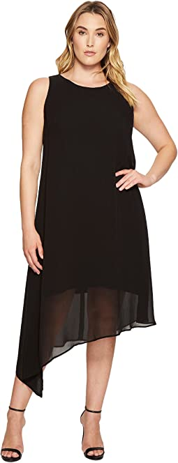 Plus Size Asymmetric Overlay Dress