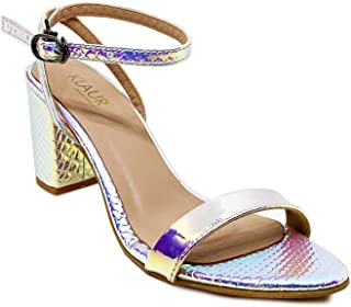 Klaur Melbourne Women 3 Inch Block Heel Party Sandals Silver 202