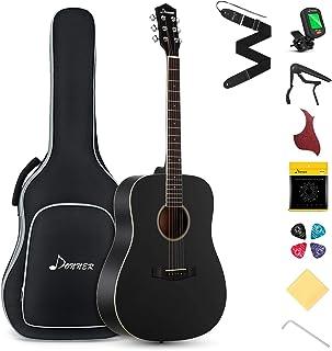 "Donner DAG-1B Black Guitar Acoustic Black مبتدی اندازه کامل ، 41 ""دسته گیتار Dreadnought با بسته بندی Gig Bag Tuner Capo Picks Strap String"