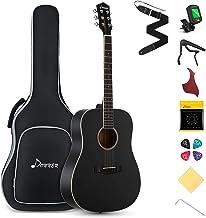 "Donner DAG-1B Black Beginner Acoustic Guitar Full Size, 41"" Dreadnought Guitar Bundle with Gig Bag Tuner Capo Picks Strap ..."
