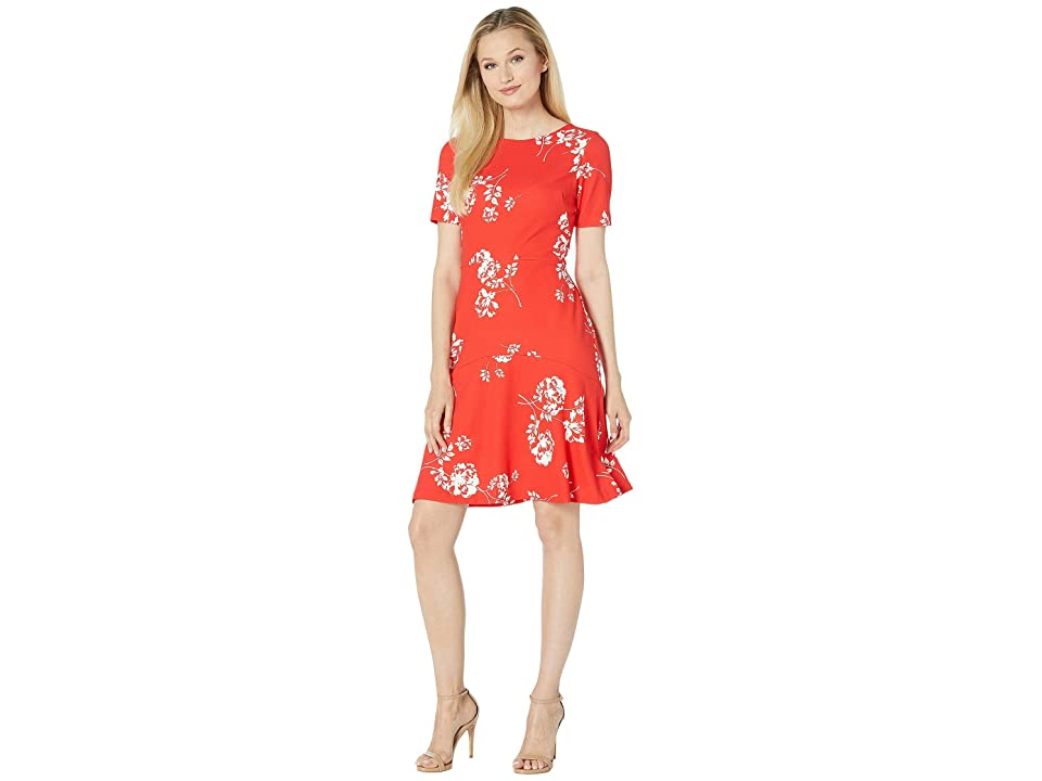LAUREN Ralph Lauren Baba Payson Floral Dress (Summer Poppy/Colonial Cream) Women