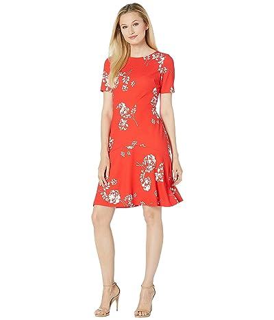 LAUREN Ralph Lauren Baba Payson Floral Dress (Summer Poppy/Colonial Cream) Women