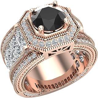 Large Black Diamond Engagement Ring 18K Gold Halo Rings for women 7.30 mm 6.35 carat (G, VS1)