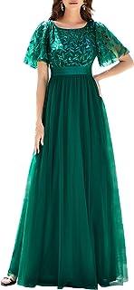 Ever-Pretty Damen Abendkleid A-Linie Spitze Kurze Ärmel Partykleid lang 00904