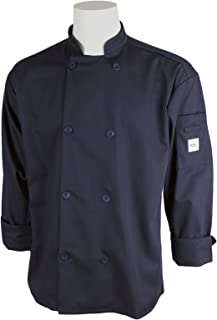Mercer Culinary M60010NBL Millennia Men's Cook Jacket with Traditional Buttons, Large, Navy Blue