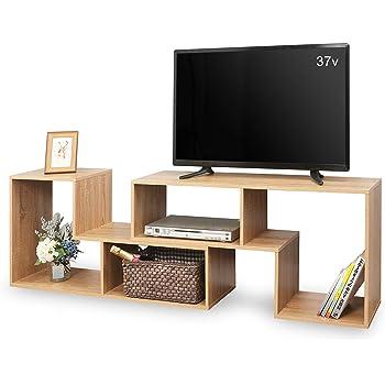 DEVAISE テレビ台 テレビラック テレビボード ローボード 伸縮 幅1050~2100mm 65インチまで対応 コーナー 収納ラック 2点セット 簡単組立 オーク ナチュラル 木目 ORADSG602SM※ 通常1~2日以内に発送します※