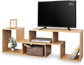 DEVAISE テレビ台 テレビラック テレビボード ローボード 伸縮 幅1100~2200mm 65インチまで対応 コーナー 収納ラック 2点セット 簡単組立 オーク ナチュラル 木目 WF0014B