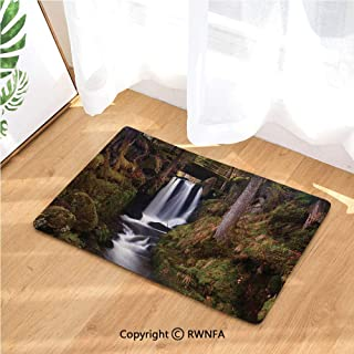 Doormat Magical Waterfall Under Old Wooden Bridge in Forest Exotic Nature Decor Non Slip Washable Water-Absorbent Floor Mats for Kitchen Bedroom,Anti-Fatigue Rugs Carpet,Green Brown White