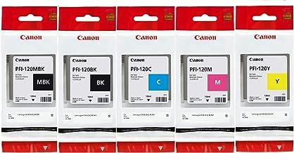 Canon PFI120 Pigment Ink Tank Bundle (Matte Black, Cyan, Magenta, Yellow, Black) in Retail Packaging