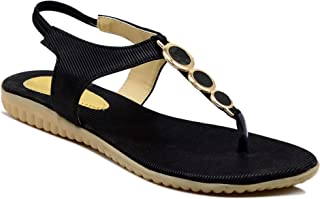 Myra Women's Black Sling-back Buckle-Accent Fashion Flat Sandals    Fashion Sling-back Casual Flat Sandals for Women - MS836C