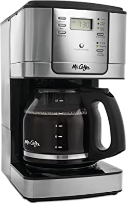 Mr. Coffee Cafetera programable de 12 tazas, acero inoxidable