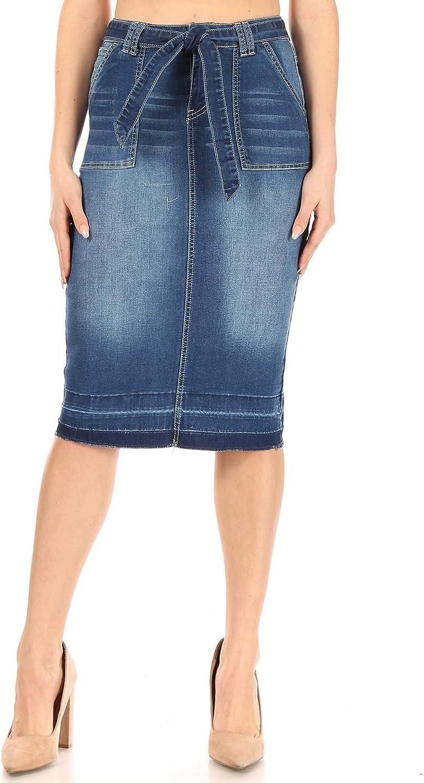 Fashion2Love Women's Juniors/Plus Size Calf- Length Pencil Stretch Denim Skirt